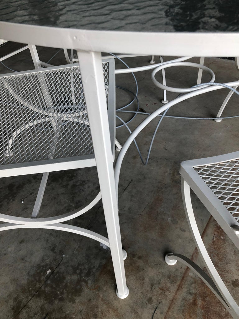 Bob Anderson Refinished in Almond White Wrought Iron & Glass Patio Dining Table For Sale 6