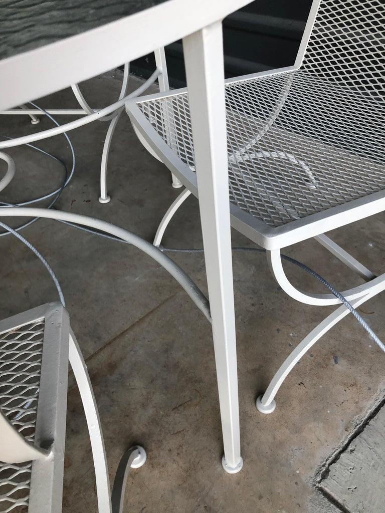 Bob Anderson Refinished in Almond White Wrought Iron & Glass Patio Dining Table For Sale 9