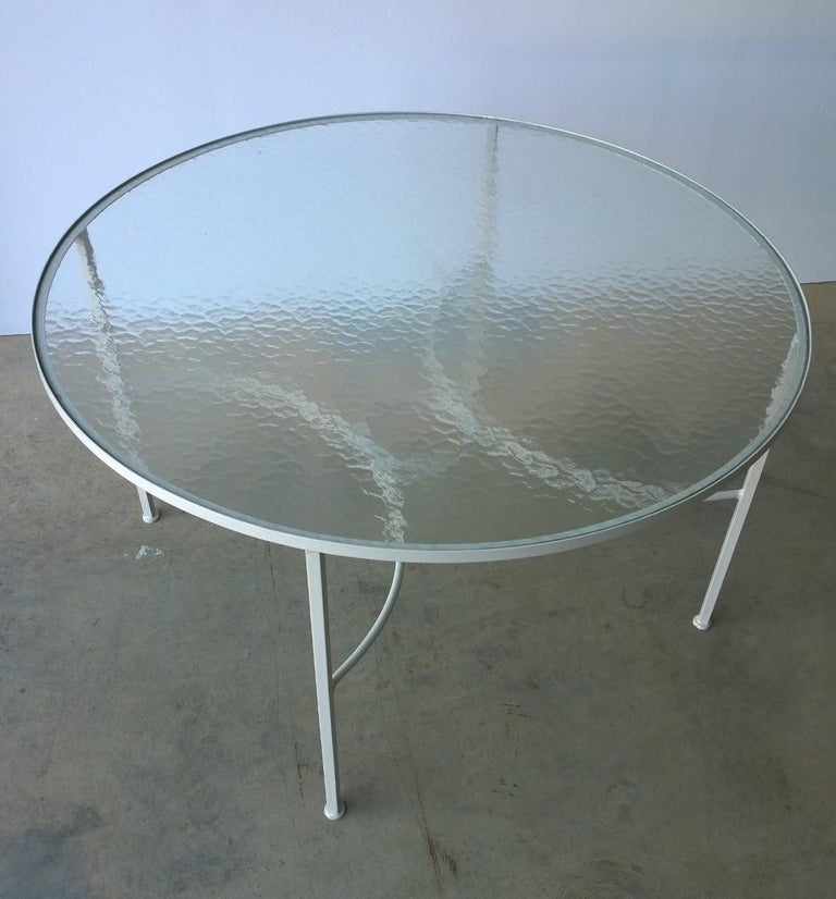 Post-Modern Bob Anderson Refinished in Almond White Wrought Iron & Glass Patio Dining Table For Sale