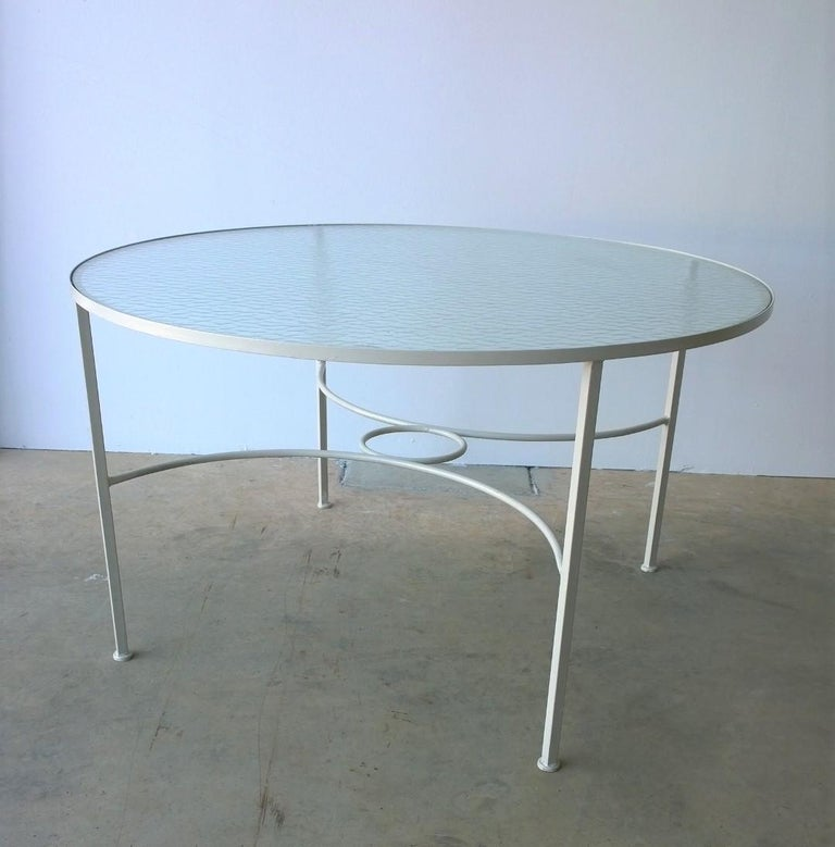 20th Century Bob Anderson Refinished in Almond White Wrought Iron & Glass Patio Dining Table For Sale