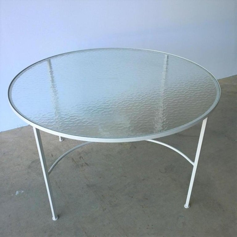 Bob Anderson Refinished in Almond White Wrought Iron & Glass Patio Dining Table For Sale 1