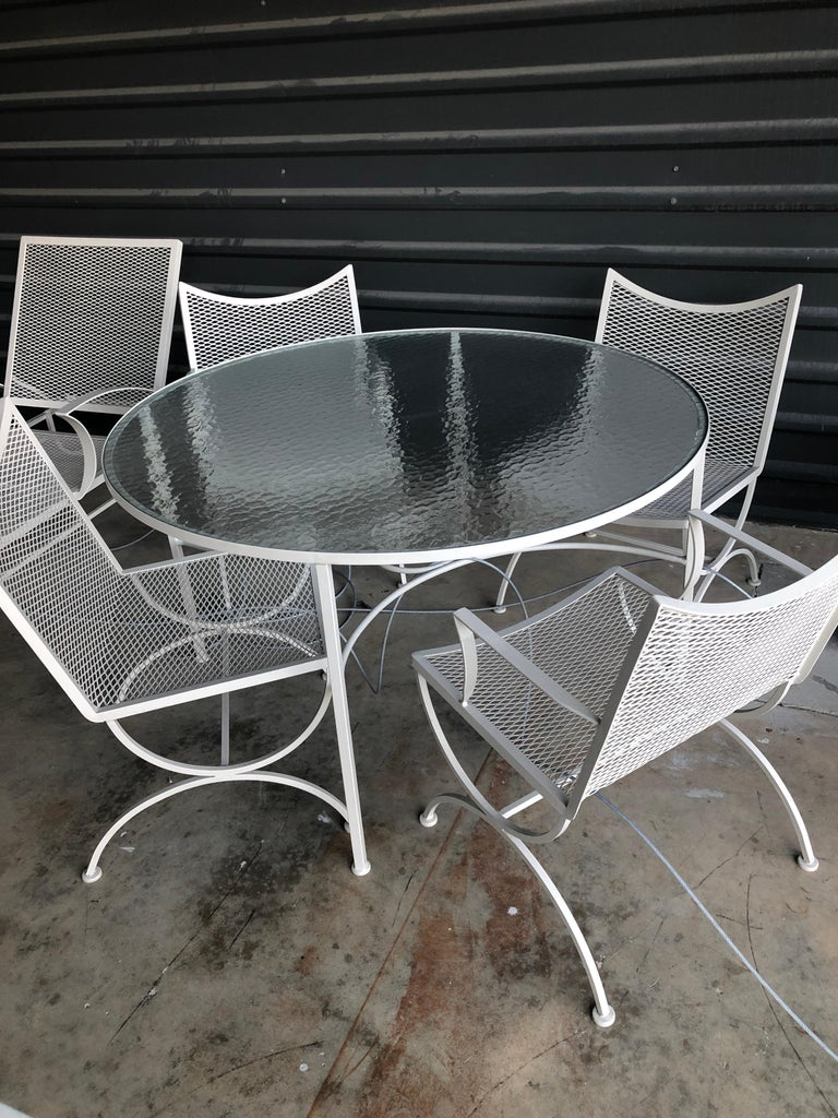 Bob Anderson Refinished in Almond White Wrought Iron & Glass Patio Dining Table For Sale 2