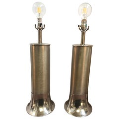 Midcentury Laurel Lamp Company Brushed Chrome Industrial Table Lamps