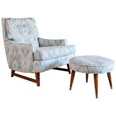 Midcentury Lawrence Peabody for Selig Upholstered Lounge Chair and Footstool
