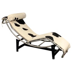 Midcentury Le Corbusier and Perriand Steel and Skin LC4 Chaise Longue, 1980s
