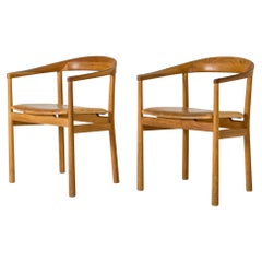 """Midcentury Leather and Oak """"Tokyo"""" Armchairs by Carl-Axel Acking"""