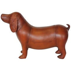 Midcentury Leather Dog Footstool by Omersa for Abercrombie and Fitch