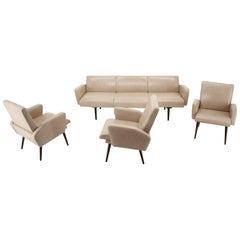 Midcentury Leather Living Room Set Designed by Miroslav Navrátil, 1970s