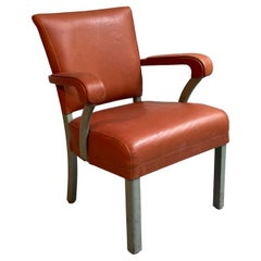 Midcentury Leather Office Armchair by Remington Rand