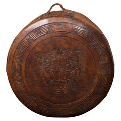 Midcentury Leather Pouf with Tooled Mesoamerican Motifs and Meander Frieze