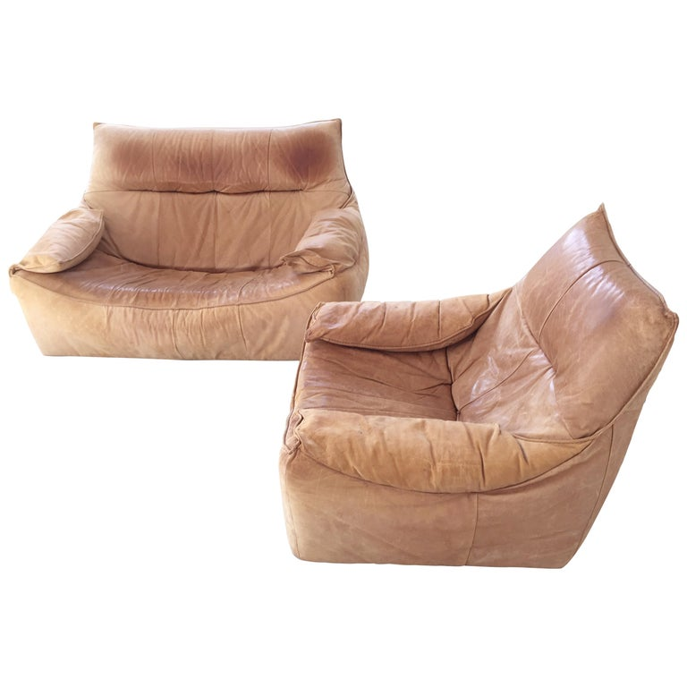 Midcentury Leather Seating Group 'The Rock' by Gerard van den Berg for Montis For Sale