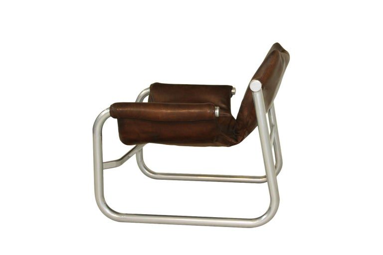Lounge chair, 1960s Maurice Burke 'Alpha' leather sling chair for Pozza, Brazil.