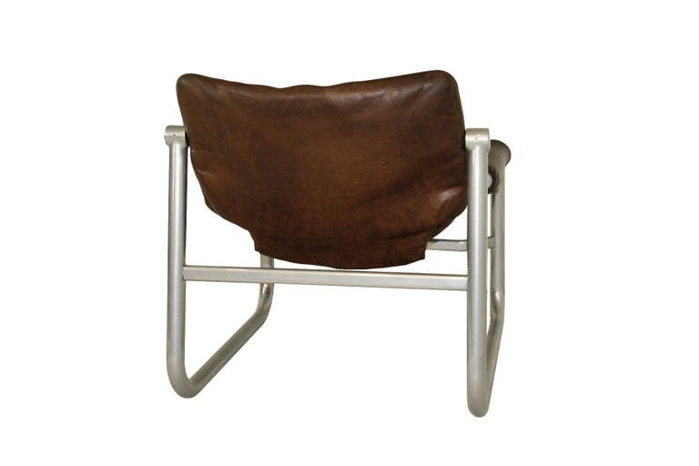 Mid-Century Modern Midcentury leather sling lounge chair by Maurice Burke for Pozza, Brazil For Sale