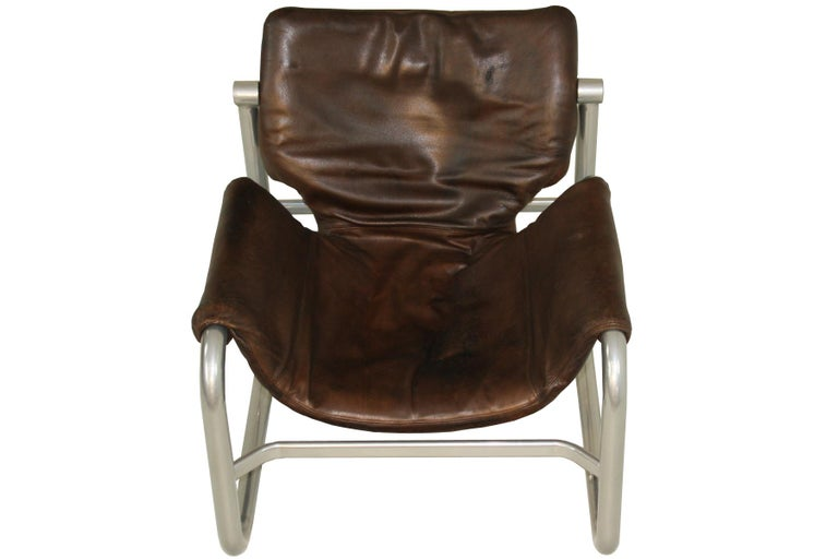 Brazilian Midcentury leather sling lounge chair by Maurice Burke for Pozza, Brazil For Sale