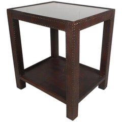 Midcentury Leather Studded End Table