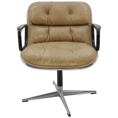Midcentury Leather Swivel Chair Designed by Charles Pollock, 1970s