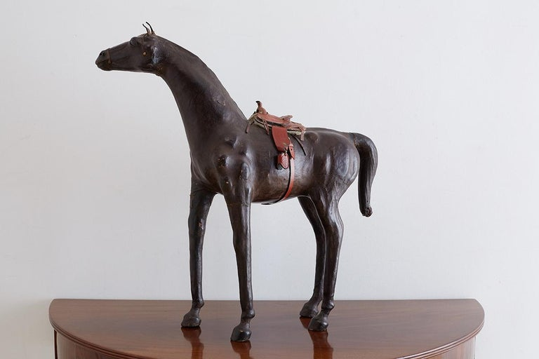 Midcentury Leather Thoroughbred Horse Sculpture 3