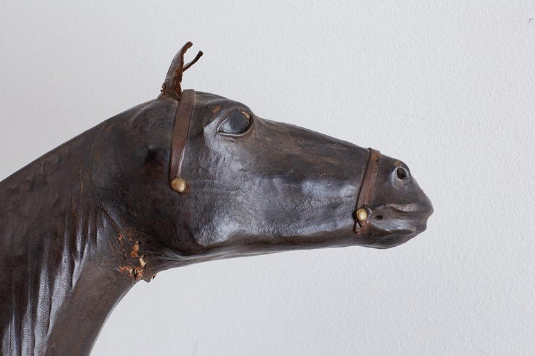 Midcentury Leather Thoroughbred Horse Sculpture 4