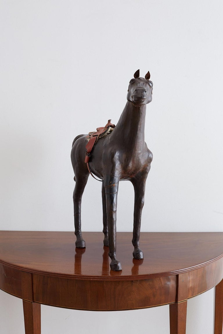 Midcentury Leather Thoroughbred Horse Sculpture 6