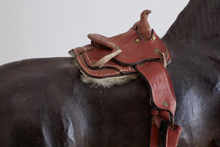 Midcentury Leather Thoroughbred Horse Sculpture 8