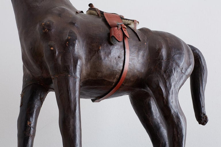 Midcentury Leather Thoroughbred Horse Sculpture 10