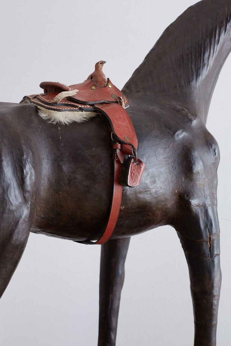 Midcentury Leather Thoroughbred Horse Sculpture 12