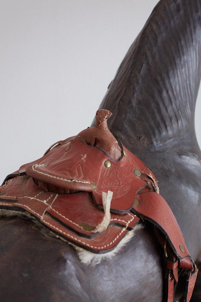 European Midcentury Leather Thoroughbred Horse Sculpture
