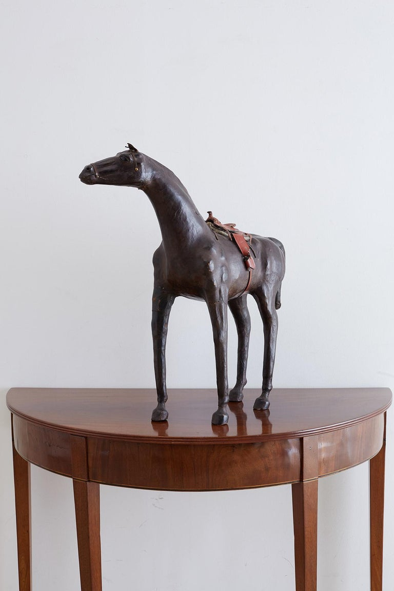 Hand-Crafted Midcentury Leather Thoroughbred Horse Sculpture