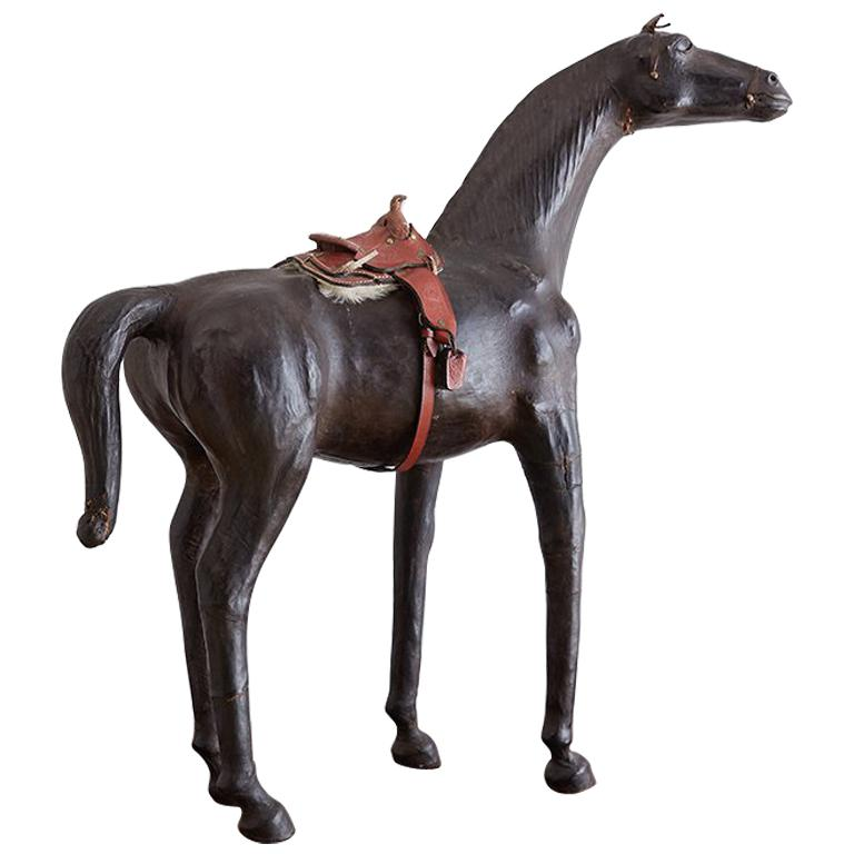 Midcentury Leather Thoroughbred Horse Sculpture