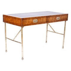 Midcentury Leather Top Writing Desk with Faux Bamboo Legs by Mastercraft