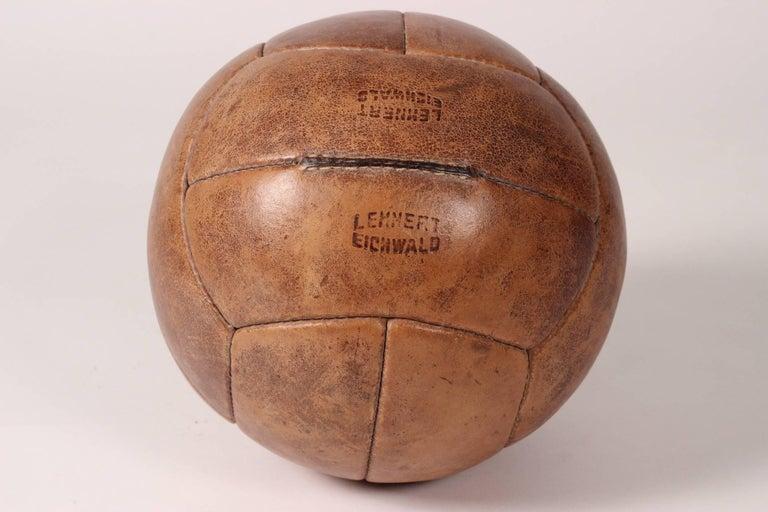 Mid-Century Modern Midcentury Leather Vintage Medicine Ball by Lemnert Eichwald For Sale