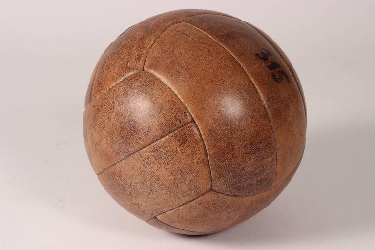 Midcentury Leather Vintage Medicine Ball by Lemnert Eichwald For Sale 1