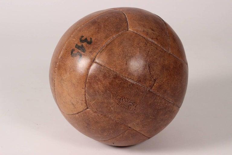 Midcentury Leather Vintage Medicine Ball by Lemnert Eichwald For Sale 2