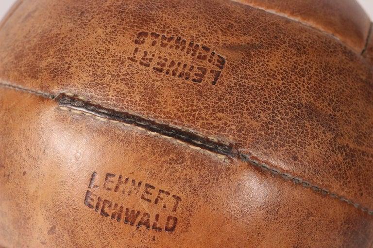 Midcentury Leather Vintage Medicine Ball by Lemnert Eichwald For Sale 3