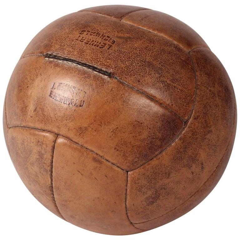 Midcentury Leather Vintage Medicine Ball by Lemnert Eichwald For Sale