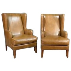 Midcentury Leather Wing Chairs