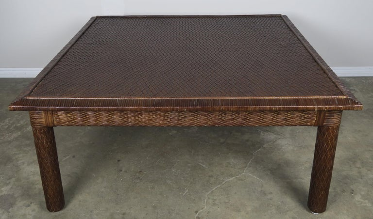 Midcentury Leather Woven Coffee Table by ENT For Sale at 1stdibs