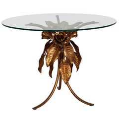 Midcentury Leaves and Flower Coffee Table in Gilt Metal by Hans Kögl, 1970s