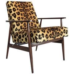 Midcentury Leopard Print Velvet Dante Armchair, H. Lis, 1960s