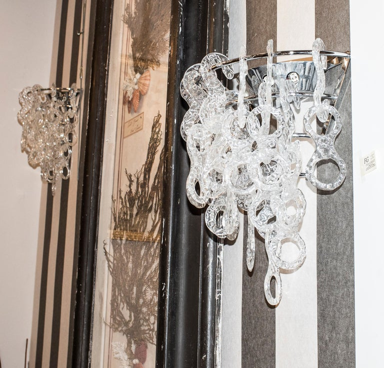 Murano  White Sconces Murano Italy White Crystal Couple of Sconces, 1960s For Sale 5