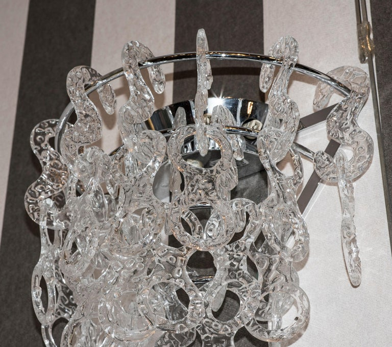 Mid-20th Century  Murano  White Sconces Murano Italy White Crystal Couple of Sconces, 1960s For Sale