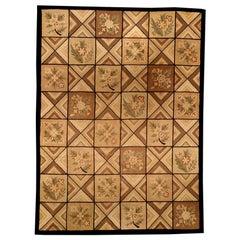 Midcentury Light Beige and Dark Brown Wool Handmade Hooked Rug