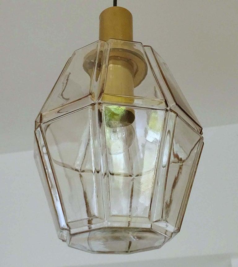 Large Limburg Polyhedral Glass Brass Chandelier Pendant Light ,  Gio Ponti Era  For Sale 4