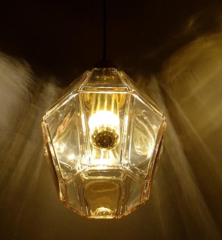 Large Limburg Polyhedral Glass Brass Chandelier Pendant Light ,  Gio Ponti Era  For Sale 5