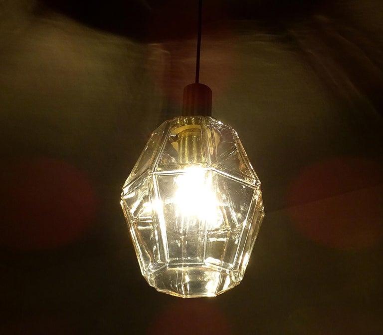 Large Limburg Polyhedral Glass Brass Chandelier Pendant Light ,  Gio Ponti Era  For Sale 6