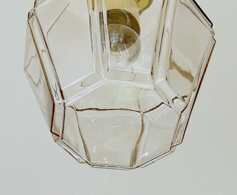 Large Limburg Polyhedral Glass Brass Chandelier Pendant Light ,  Gio Ponti Era  For Sale 7