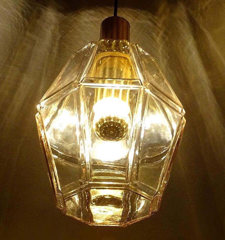 Large Limburg Polyhedral Glass Brass Chandelier Pendant Light ,  Gio Ponti Era  For Sale 8