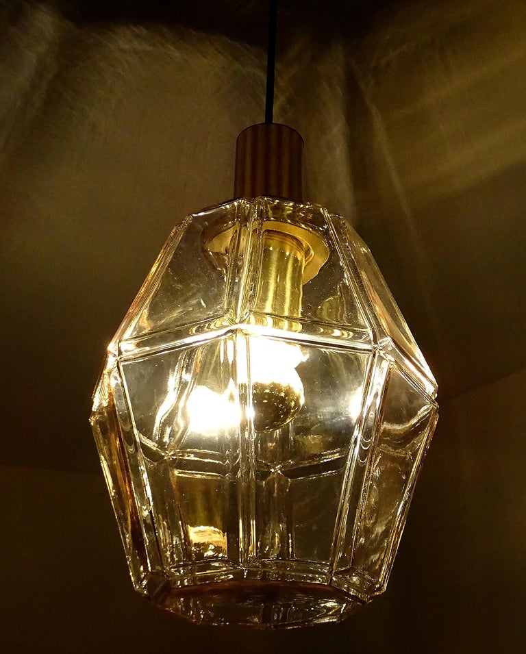 Large Limburg Polyhedral Glass Brass Chandelier Pendant Light ,  Gio Ponti Era  For Sale 10