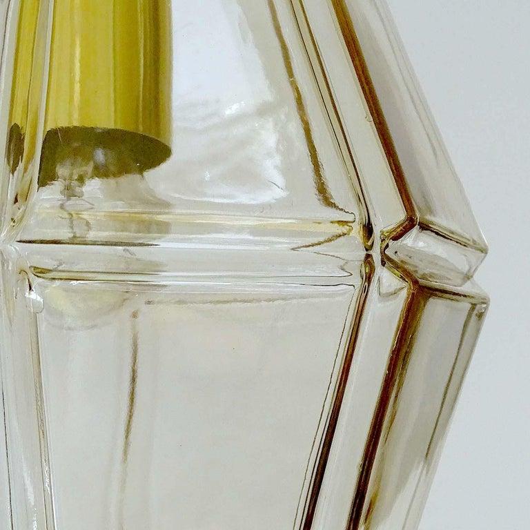 Large Limburg Polyhedral Glass Brass Chandelier Pendant Light ,  Gio Ponti Era  For Sale 11