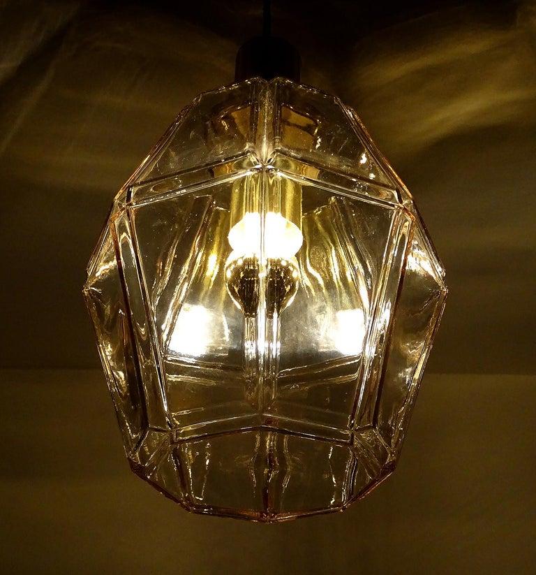 Large Limburg Polyhedral Glass Brass Chandelier Pendant Light ,  Gio Ponti Era  For Sale 12